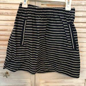 Jcrew navy and white striped skirt